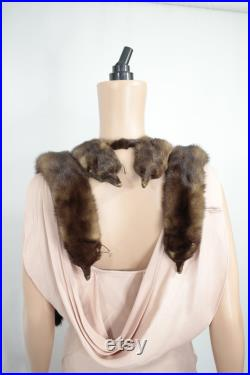 1940s-1950s fourrure de vison volé avec taxidermie fur de vison vintage vraie fourrure de vison écharpe de fourrure de vison tippet de fourrure de vison taxidermie vintage peaux de fourrure de vison