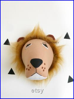 4 articles, zèbre, lion, girafe, éléphant. Tête, tissu mur monté jungle animale, décor mural Faux tête taxidermie pépinière