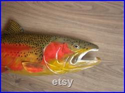 60 cm sculpture en bois 3D de poissons de truite arc-en-ciel, Mikija, saumon d acier, sculpture à la main de bois