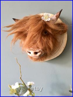 Aiguille feutre vache highland, taxidermie, montures animales, cadeau , maison , présent , rustique , pays