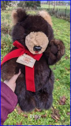 Bearlooms from heirlooms-Delores Mauch -Ours en peluche en fourrure réel joint 12 vintage vison TRÈS PROPRE et soft cuir paw pads artisan fait