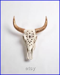Bison en filigrane naturel tête de mort withGold cornes taxidermie Faux blanc Buffalo Bison crâne tête crâne de vache ouest Biophilia Decor en résine