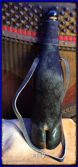Black Bull Hoof n Hide Covered Spirits Bottle.