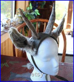 Corne de chèvre véritable, oreilles de Lama et bandeau de coiffe de daim naturel cerf Cornu Cernunnos de Herne Dieu Couronne de Beltane Wicca rituel païen totem
