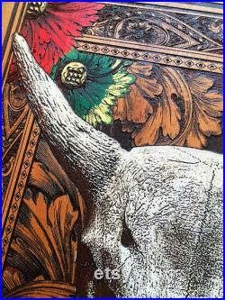 Cow Skull Art, Animal Skull Art, Boho Bull Skull Flower, Boho Wood Wall Art, Boho Room Decor, Faux Taxidermy Bull Skull, Long Horn Skull Art