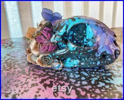 Crâne de Bobcat peint Crâne de Bobcat Bizarrerie Décor gothique Taxidermie Décor de crâne Bone Art Crâne de chat réel Os d animaux décorés
