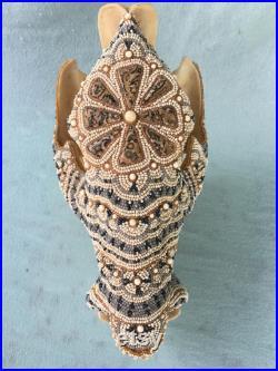 Crâne de Javelina, Cab de Jasper de peau de léopard, perles d ivoire de morse fossile