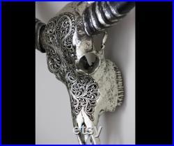 Crâne de buffle, crâne réel gravé, crâne sculpté à la main, décoration de restaurant, décor de Mancave, décoration de cheminée, vrai crâne de vache