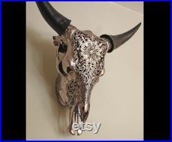 Crâne de buffle de cristal, crâne de vache réel gravé, crâne de buffle argenté décoré de cristal, crâne décoré de vache, cristal de Swarovski