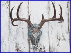 Crâne de cerf vert choix de couleur crâne de cerf avec des bois Bronze mort tête d Animal taxidermie Faux