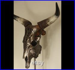 Crâne de vaches, crâne réel gravé, crâne de Longhorn gravé réel sur piédestal, crâne décoré rustique restant sur le train d atterrissage