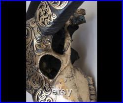 Crâne original de buffle, cornes décorées de crâne, motif oriental, cornes décorées de buffle, finition en bronze en laiton, décoration murale
