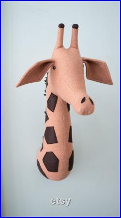 Cream Giraffe Head Wall Decor Mount, The Faux Taxidermy, Cream Giraffe Head, Animal Head Decor