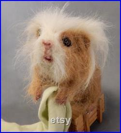 Custom Guinea Pig replica own HAIR needle felted pet faux taxidermy felt Guinea Pig custom hamster effigy cavi soft sculpture felt rodent