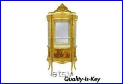 Fran ais Louis XV Gold Gilt Wood Vernis Martin Curved Glass Vitrine Curio Cabinet