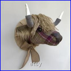 Highland tête de vache fausse taxidermie faite à la main baies vérifier tweed tissu mur monté trophée animal