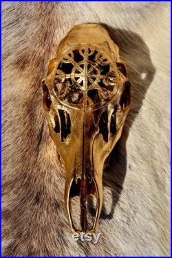 MADE TO ORDER Or peint Crâne de cerf de Roe ( Sculpture de crâne de cerf (en anglais) Crâne sculpté (en anglais) cadeau vintage, pour elle pour lui, décor à la maison . Crâne réel de cerf