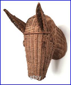 Midcentury Fran ais tête de cheval en osier, mur monté, rotin vintage, Tiki, décor unique, maison Boho.