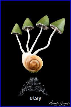 Ryssota mushrooms N-1 sculpture en papier mâché Champignon et coquille d'escargot géant ryssota Cabinet de curiosités