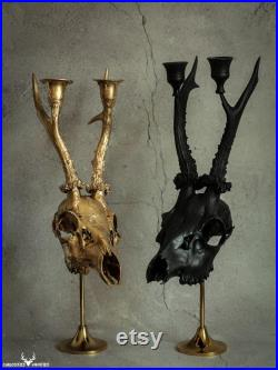 Support de bougie fait sur les bois de crâne de cerf d oeufs réels, montés sur le piédestal en bronze pour le décor alternatif de maison de gothique (personnalisation possible)