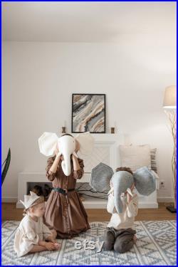 Taxidermie tête d éléphant, tête d animal feutrée, décor de mur d éléphant, salle de bébé d éléphant, décor de safari, décor de pépinière, décor de pépinière de jungle