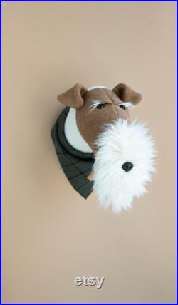 Tête d animal de chien de chien de renard de fil, tête d animal de feutre, sculpture de chien de renard, animal de compagnie, chien réaliste de taxidermie faux, décor de pépinière de chien