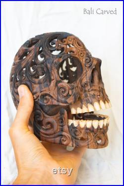 Tête humaine sculptée de crâne de bois d arang (analogue d ébène) crâne en bois pour la décoration de maison gothique sculpture de crâne pour l art de bois