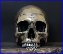 Thirdax-détresse or et argent pleine grandeur vie taille réaliste crâne humain réplique avec mâchoire amovible art ornement Decor