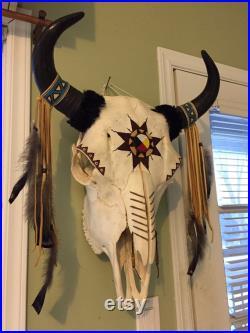 VENDU Crâne de Bison amérindien. Véritable tête de bison avec cornes. Décoration murale amérindienne. Décor amérindien. Bison des bois