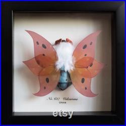 Volcarona Pokemon Taxidermy Moth Framed Wall Decor Oddities Curiosities Display Gift