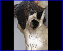 XXL Crâne Longhorn, grand crâne original décoré, vraies cornes, décoration rustique, décoration murale de bar et de restaurant, objet d art