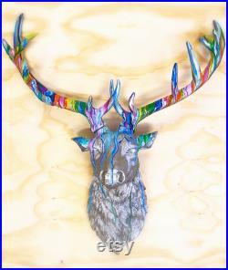 XXL Stag tête mur de la tête de montage fausse taxidermie custom peint à la main décoration intérieure déclaration mur art anniversaire de Noël anniversaire cadeau